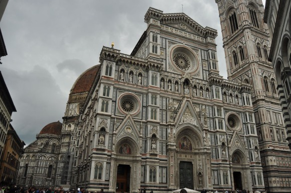 A view on the Duomo cathedral with Campanile on the right in Florence, Italy
