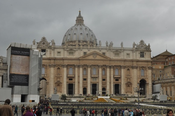 St Peter's Basilica from the outside on a rainy day, Vatican City, Rome