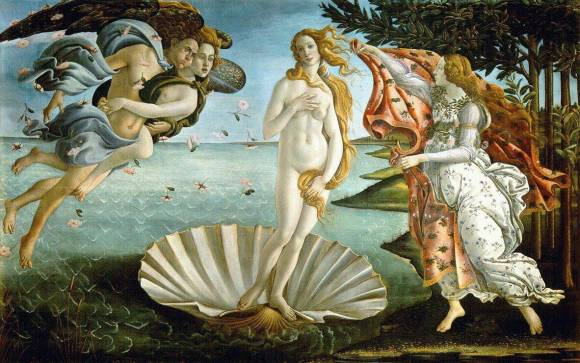 Sandro Botticelli's The Birth of Venus, c. 1486. Tempera on Canvas. Uffizi Gallery, Florence.