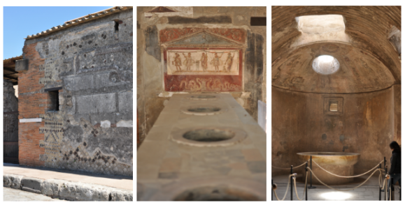 A wall with mosaic, artwork from a bar, and detail of a bath in Pompeii