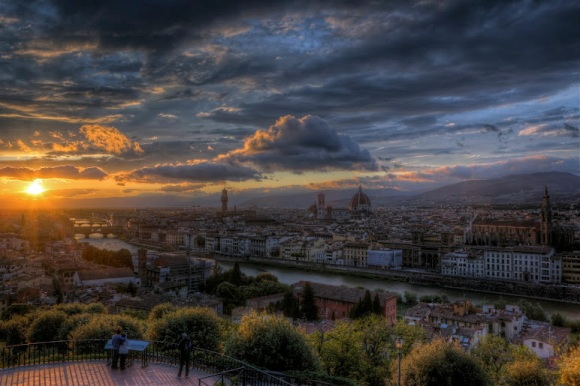 The view on Florence from the Piazza Michelangelo at sunset