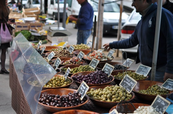 Olives at a market in Lyon, France