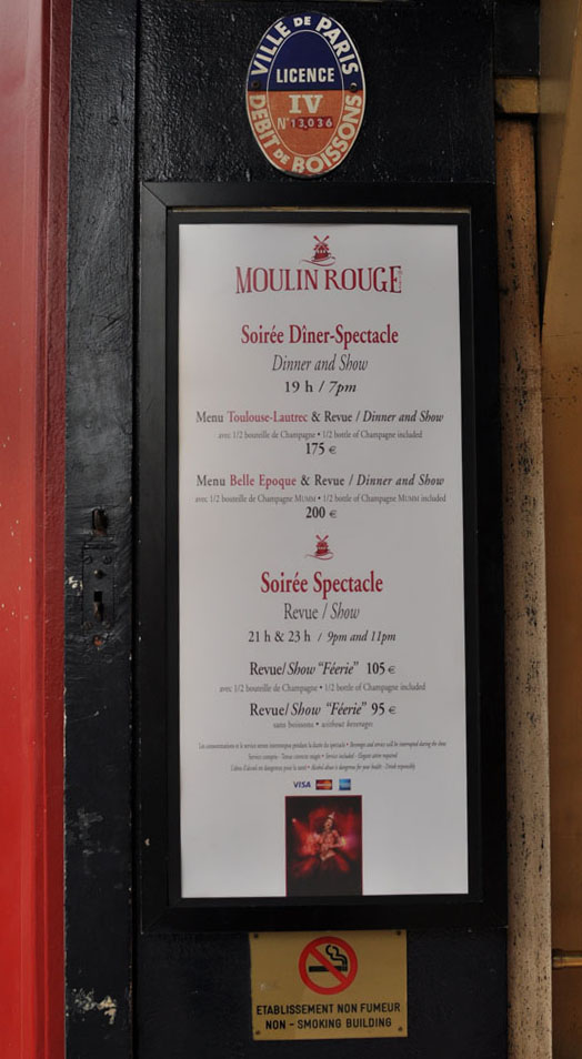 Moulin Rouge prices April 2012 Paris