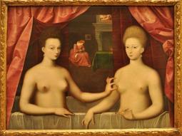 Gabrielle d'Estrées and One of Her Sisters (c. 1595), Gabrielle d'Estrées