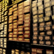 Props - wand boxes in Ollivander's shops, with cast and crew member names - details