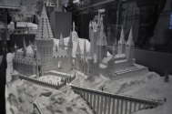 Scale models - Hogwarts castle and courtyard with bridge
