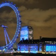 The London eye dressed in blue