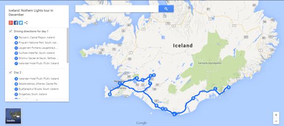 The area of Iceland this tour covers.
